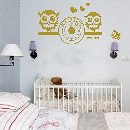 YuanMinglu Niedliche und schöne Eule Eule Uhr Wandtattoo Kinderzimmer Baby Aufkleber Vinyl Baby Dekoration 85x43cm