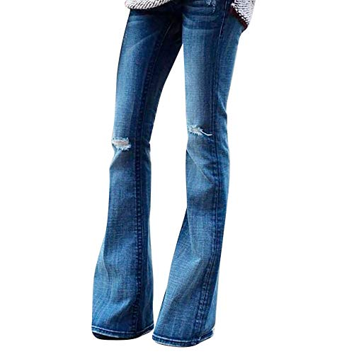 STRIR Mujer Vaqueros Acampanados Pantalones Largos Elástico Cintura Alta Retro Flared Jeans (L, Azul)