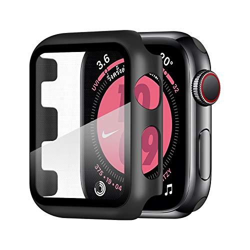 Wenearn Funda para Apple Watch Series 3/2/1 38mm, Cubierta Plástica + Protector Pantalla [Sin Burbujas] Protección Completo Anti-Rasguños Super HD Thin Fit Caja Duro con Vidrio Templado - Negro
