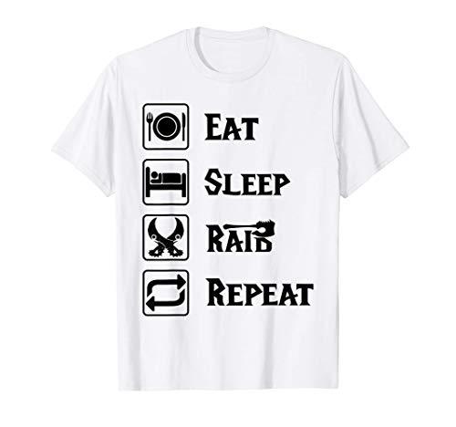 Eat Sleep Raid Repeat Gaming Wow RPG Camiseta