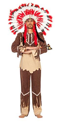 Karneval-Klamotten Kostüm Indianer Kostüm Herren Häuptling beige-braun Karneval Herrenkostüm