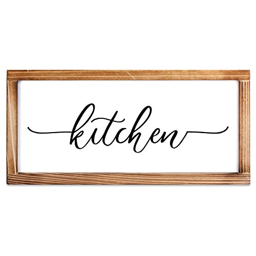 Kitchen Sign - Rustic Kitchen Decor Sign - Modern Farmhouse Kitchen Decor, Kitchen Wall Decor, Rustic Home Decor, Country Kitchen Decor with Solid Wood Frame 8x17 Inch
