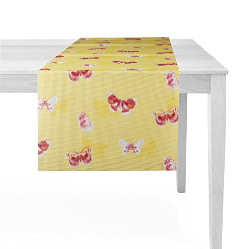 Friedola tafelloper van zacht schuimmateriaal met aantrekkelijke bedrukking 40 x 150 cm in 4 kleurvarianten geel