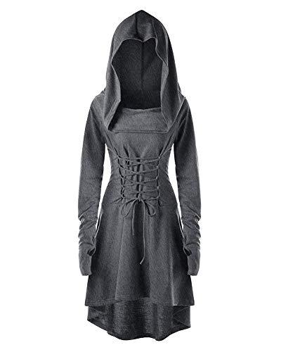 Vestido con Capucha De Época Medieval De Mujer Tamaño Grande Manga Larga Cosplay Midi Vestidos Gris 3XL
