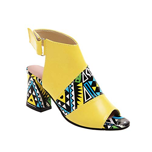 FNKDOR Ethnisch Slingback Sandalen Damen Sommer mit Absatz Elegant Leder Sandaletten mit Klettverschluss Gelb 38