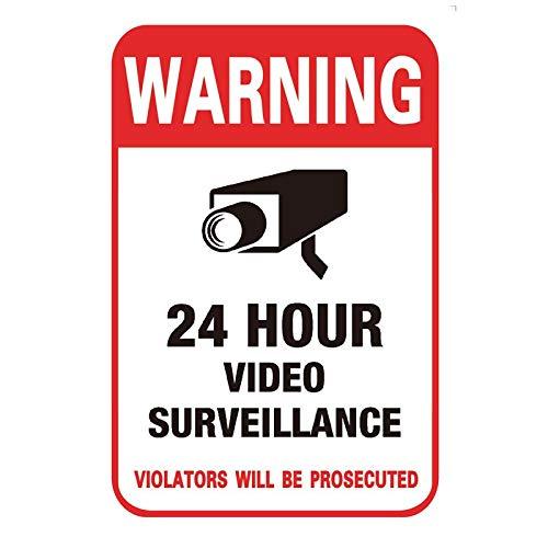 Segnali di Avvertimento CCTV,6 PCS Adesivi CCTV Impermeabile Segni CCTV Autoadesivi Cartello Attenzione Area Videosorvegliata 24 ore CCTV in Operazione Segni per Esterni Salvaguardia Rosso 100*150mm