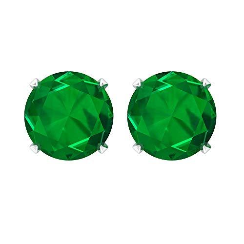 Rosec Jewels - 1 CT Difussed Esmeralda Solitario Pendientes, Pendientes de tuerca, joyería de oro (calidad AAAA) 14K Oro blanco, Par