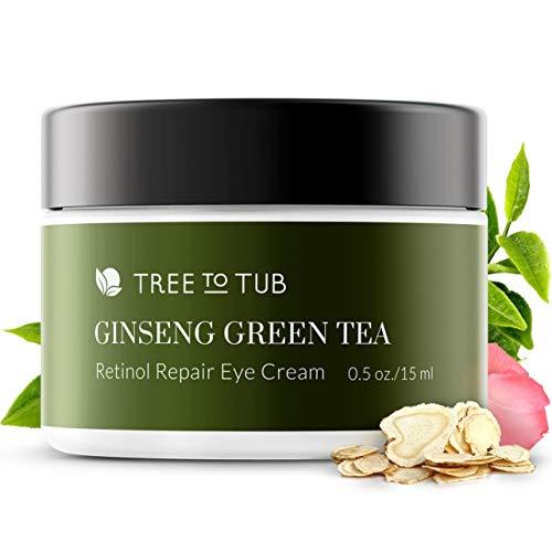 Gentle Retinol Eye Cream by Tree To Tub - pH 5.5 Anti Aging Eye Cream for Wrinkle Repair, Eye Bags and Dark Circles - Pure Hyaluronic Acid Eye Serum for Deep Hydration 0.5 oz