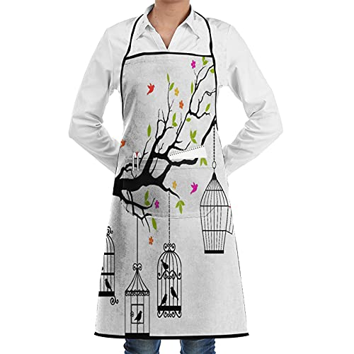 LOSNINA Kitchen Cooking Aprons for Women & man,Flying Birds Floral Colorful Tree Branch And Open Cages Freedom Theme Spring Liberty,Apron with 2 Pockets ,Aprons for Home Kitchen, Restaurant Cooking