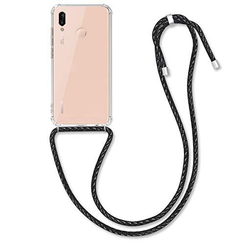 kwmobile Funda con Cuerda de Cuero sintético Compatible con Huawei P20 Lite - Carcasa de TPU en Negro/Transparente