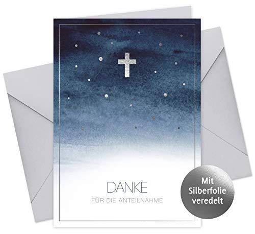 20 Karten & 20 Umschläge: Danksagung Himmel – Danke für die Anteilnahme – Trauerkarten Klappkarten DIN A6, Danke nach Trauerfall, Beerdigung, Sterbefall