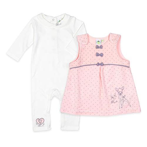 Disney babyset meisjes wit roze | Motief: bamboe| Baby romper met jurk voor pasgeborenen & peuters | Maat: jumpsuit 9-12 Monate (80) wit, roze.