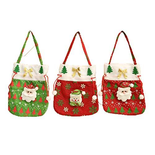 GSDJU Plüschtiere 3PCS Taschen Christmas-Stoff-Tasche Beutel des Treat Tasche mit Feiertags-Party-Dekorationen (Color : Red)