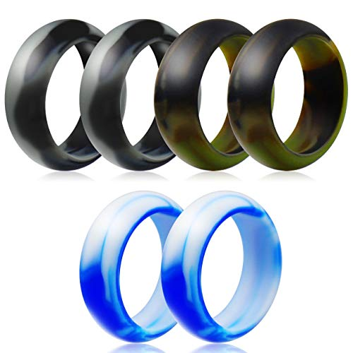 BUSOHA Silicone Rings Wedding Bands,6 Rings Camo Silicone Rubber Wedding Bands for Men and Women,Breathable Design,Comfort Fit (7)