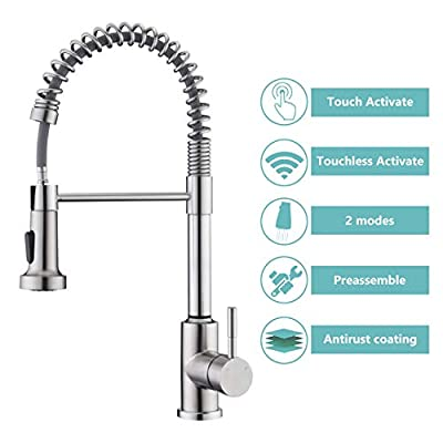 Touchless Kitchen Faucet with Pull Down Sprayer, ARRISEA Touch on Activation Kitchen Sink Faucets with Pull Down Sprayer, Brushed Nickel Smart Sink Faucets