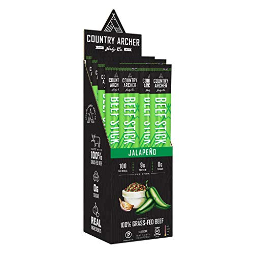 Jalapeno Beef Sticks by Country Archer, 100% Grass-Fed, Certified Keto, Paleo, Gluten Free, 1 Ounce (Pack of 24)
