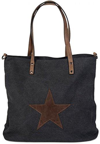 styleBREAKER Bolso de Mano de Tela, Bolso de Tipo «Shopper» con Estrella Cosida, Bolso de Hombro, señora 02012048, Color:Negro
