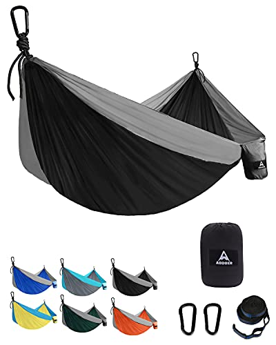 aodoer Camping Hammock - Travel Hammock with 2 Tree Straps, Double Hammock, Durable Nylon Parachute Portable Hammock for Outdoor, Hiking, Backpacking, Yard (Black & Grey)