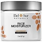 Del Sur Naturals Face Moisturizer for Women & Men - Antioxidant Facial Cream Lotion, Enriched with Vitamin A, C, & E - Rejuvenates Facial Areas & Combats Premature Aging, All Skin Types, 2 oz