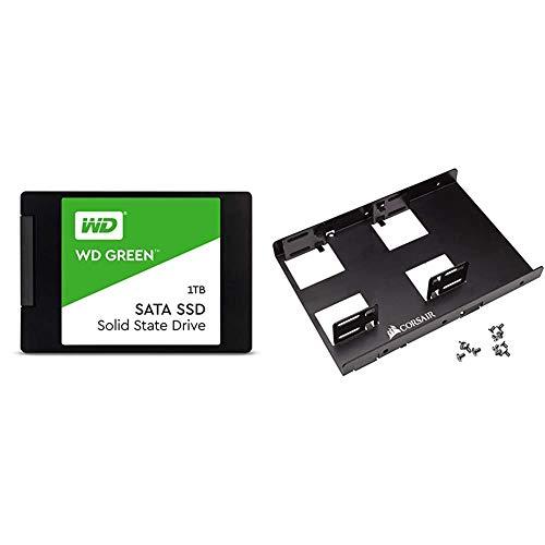 WD Green 1TB Internal PC SSD - SATA III 6 Gb/s, 2.5 Inch /7mm - WDS100T2G0A Bundle with Corsair Dual SSD Mounting Bracket 3.5%22 CSSD-BRKT2,Black