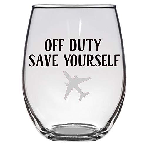Off Duty Save Yourself Wine Glass, Pilot, Flight Attendant, Stewardess, Funny Wineglass, Aviation