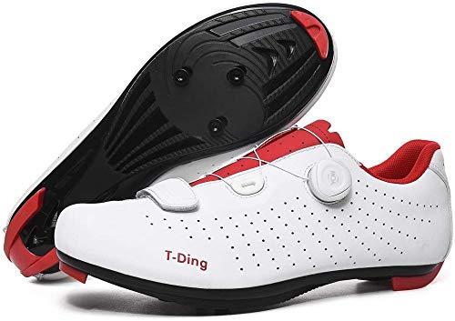 KUXUAN Zapatillas de Ciclismo para Hombre,Cordón de Zapatos Giratorio con Zapatilla Peloton de Cala Compatible con SPD y Delta para Hombre, Zapatillas de Bicicleta con Pedal,White-43EU