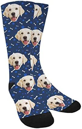 Custom Print Your Photo Pet Face Socks Personalized Cat and Dog Tracks Paws Bones Navy Blue product image