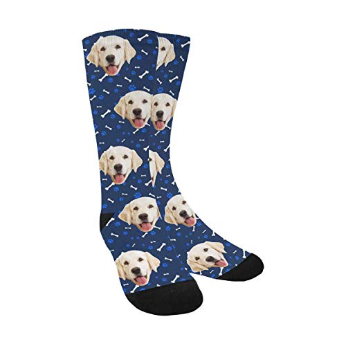 Custom Print Your Photo Pet Face Socks, Personalized Cat and Dog Tracks Paws Bones Navy Blue Crew Socks with Faces for Men Women