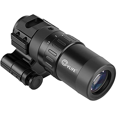 CVLIFE 1.5X - 5X Red Dot Sight Optics Magnifier with Flip to Side Mount, 2.2-3.6 inches Eye Relief