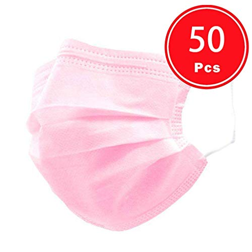 Ecnobia 3 Ply Non-Woven, 50 Pcs Disposable Face Bandanas, Cloth Covering, No Washable, Breathable and Anti-Haze Dust…