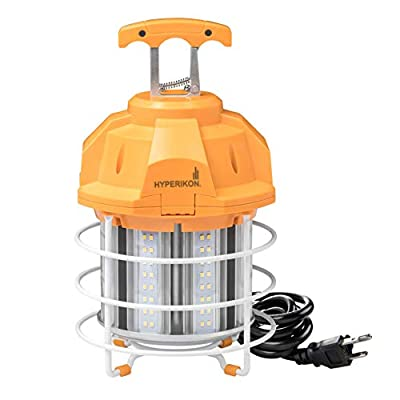 Hyperikon 80W LED Temporary Work Light Fixture, 9600 Lumens, Orange Construction Drop Light, LED High Bay Lighting, UL IP65 Waterproof, 5000K