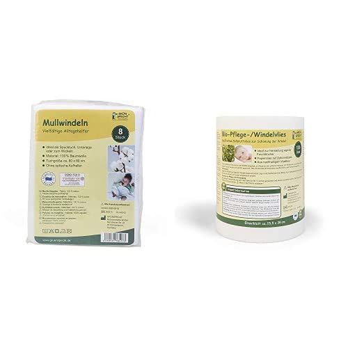 GRÜNSPECHT Naturprodukte 598-00 Mullwindeln, 8 Stück + Grünspecht 676-00 Bio-Pflege-/Windelvlies 120 Blatt, Weiß