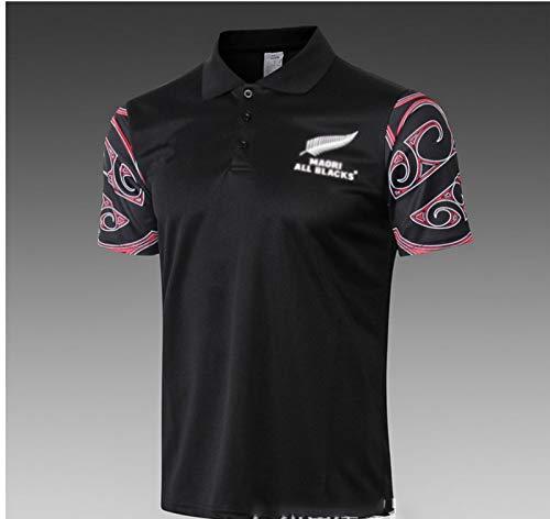 DZTIZI Rùgby Jérsey Maori All Blacks Camiseta De Rùgby, Polo All Black Rùgby para Hombre, Camiseta Maori Rùgby,Black-M