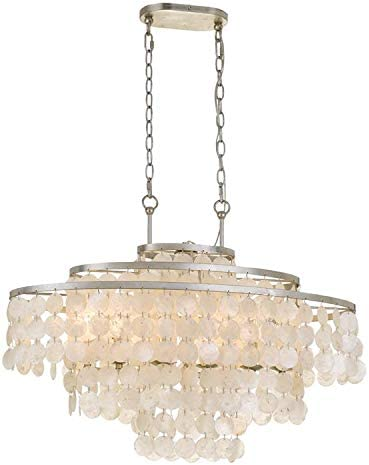 high quality Brielle online 6 online sale Light Antique Silver Linear Chandelier online sale