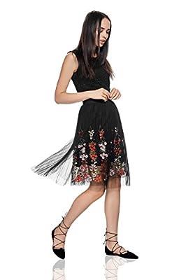Floral Layered Skirt Knee Length Elastic Waist Flower Embroidery Mesh Overlay