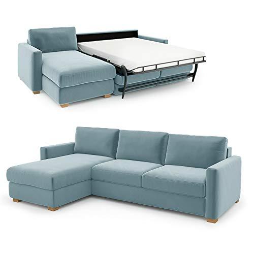 place to be. Sofá cama Weekend 140 cm con tumbona larga izquierda, color azul claro