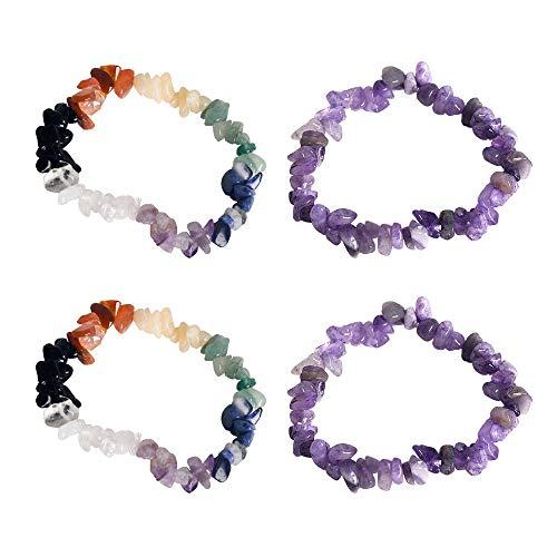 CXD-GEM Irregular Natural Gemstone Chip Bracelets Set for Women - 4 Pack Healing Stone Stretch Bracelets (Gemstone Chip Bracelet)