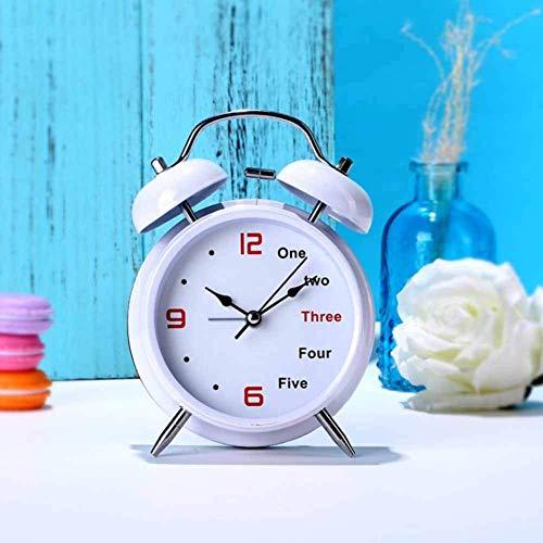 Double Bell Wecker, tropffreie Antwort Ancient Silent Sweep Number/Englisch Wecker Nachtlicht, Batteriekonsole Uhr Schlafzimmer, Wohnzimmer (Farbe: Weiß)