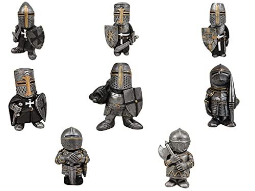 Knight Gnomes Guard- Cross Templer Kreuzritter Figur Hohe Rüstung Miniatur Europäische Ritter Skulptur Dekor Machen Sie Ihren Hausgarten voller Geheimnisse,GNOME Warrior Garden, Outdoor (8pcs)