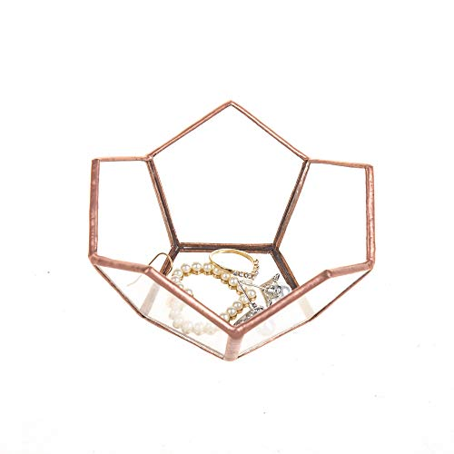 Feyarl Mini Jewelry Trinket Tray Dish Plate Ornate Ring Earring Scented Candle Holder Decorative for Display Dressing Table (copper)