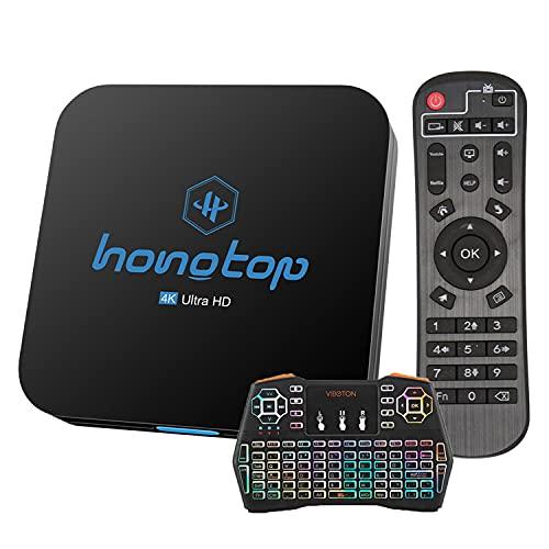 GEQWE Caja De TV Android 10.0 [4G + 64G] con Mini Teclado RK3318 De Cuatro Núcleos De 64 bits, Wi-Fi-Dual 5G / 2.4G, BT 4.0, 4K * 2K UHD H.265, Caja De TV Inteligente USB 3.0,4gb+64gb