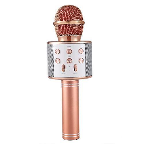 Microfono Karaoke Altavoz Bluethoot 858 Dorado Rosa Wireless inalambrico grabación Canción niños niñas
