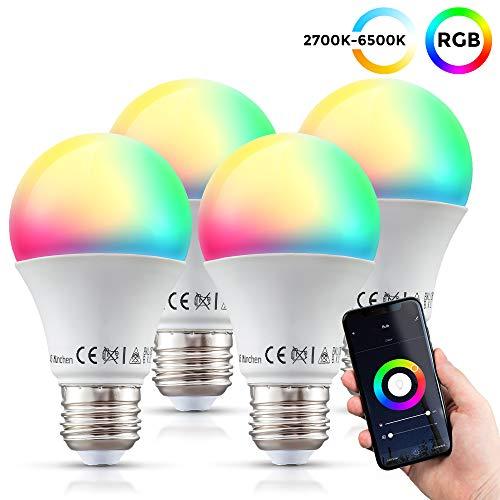 Lampadine LED smart RGB E27, set di 4, luce calda fredda colorata, dimmerabile con lo smartphone, funziona con App per iOS e Android, Amazon Alexa, Google Home, lampadina Wi-Fi, 9W 806Lm
