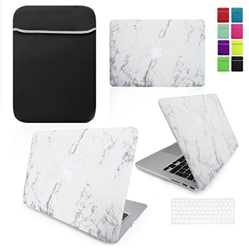 LOVE MY CASE / BUNDLE White MARBLE Hard Shell Case with matching Clear / Transparent KEYBOARD Skin and Black NEOPRENE Sleeve Cover for Apple MacBook Air 13 inch (13') A1369 / A1466 [Will NOT fit MacBook Pro Models]