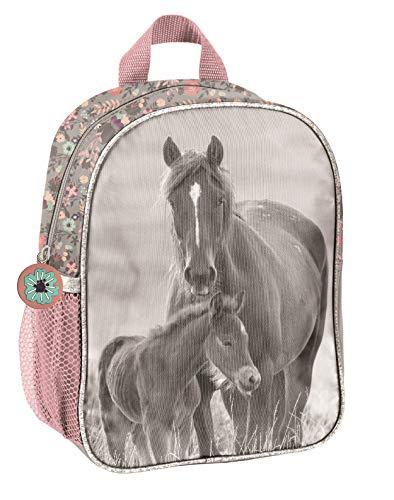 Pferde Fan Rucksack Kinderrucksack für Jungen und Mädchen (20KO) mit Hauptfach und Getränkenetz, 28 x 22 x 10 cm, Rose/grau