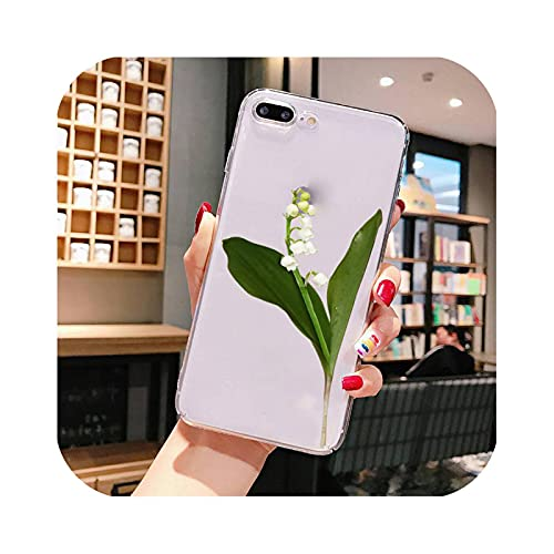 Carcasa para iPhone 7, diseño de flor Lily of The Valley para iPhone X XS Max 6 6s 7 7plus 8 8Plus 5 5S SE 2020 XR 11 11pro Max transparente a8-For iPhone 7 Oro 8