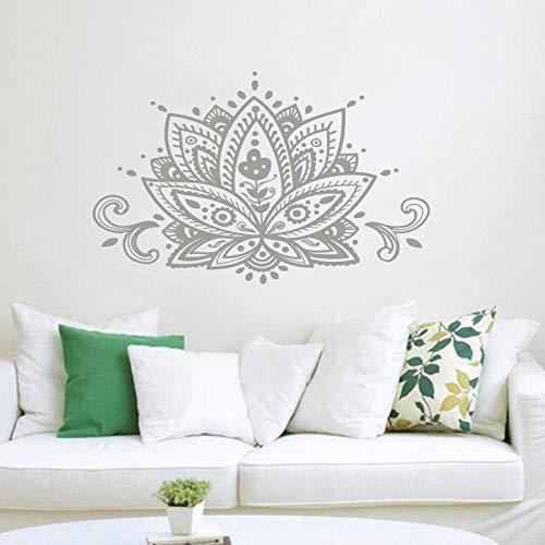 Lotus Wall Decal Mandala Etiqueta de la pared Bohemia Decoración para el hogar Patrón indio Estudio de yoga Arte de la pared Etiqueta mural Calcomanía otro color 67x42cm