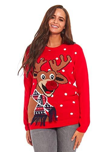Damen Weihnachtspullover Lustig Unisex Hässliche Pulli Strickpullover Ugly Weihnachtspulli mit weihnachtlichen Motiven für Damen Herren Weihnachtsparty, L, Rote Nase Pom Pom-rot