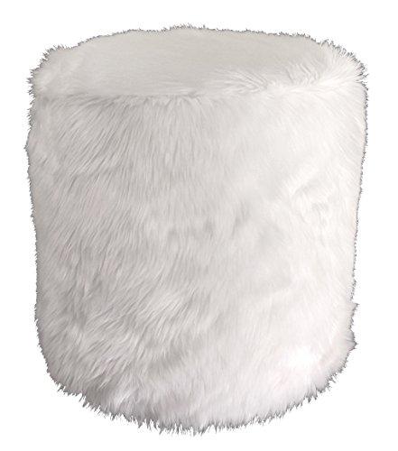 Metje Faux Fur Pouf - Ottoman, 17Dia x 17H, White