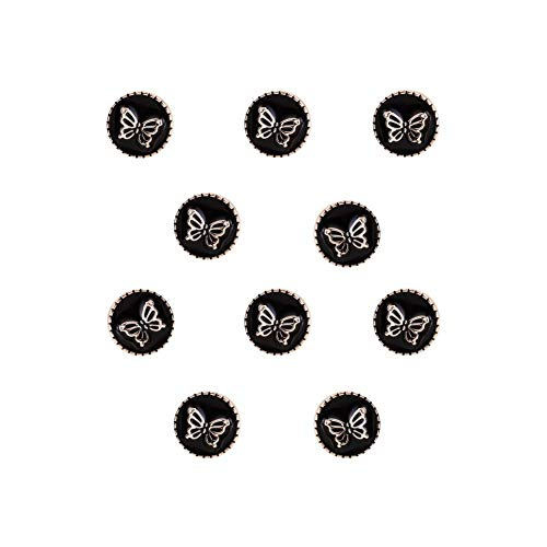 Joyci 10-Pack Vintage Brooch Shirt Suit Lapel Pin Vest Safety Pushpin Buckle Decorate Button Metal Tie Tacks Pin Back Clutch (Butterfly Black)